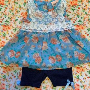 Little Lass Blue Lace Floral Set